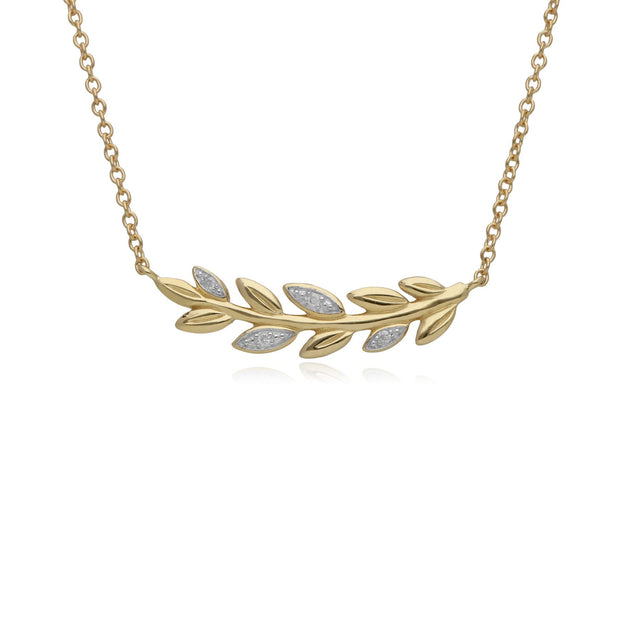 O Leaf Diamond Necklace in 9ct Yellow Gold