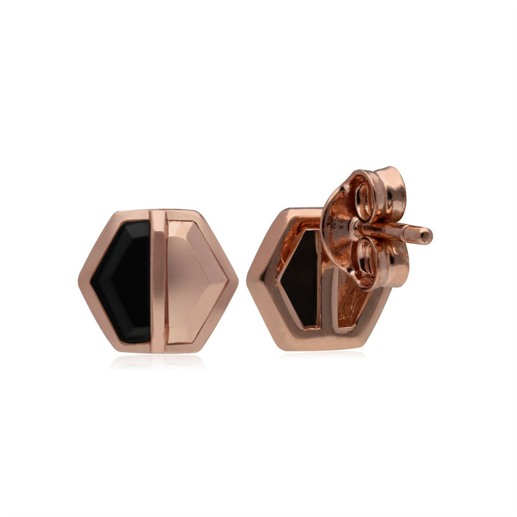 Micro Statement Black Onyx Hexagon Stud Earrings in Rose Gold Plated 925 Sterling Silver