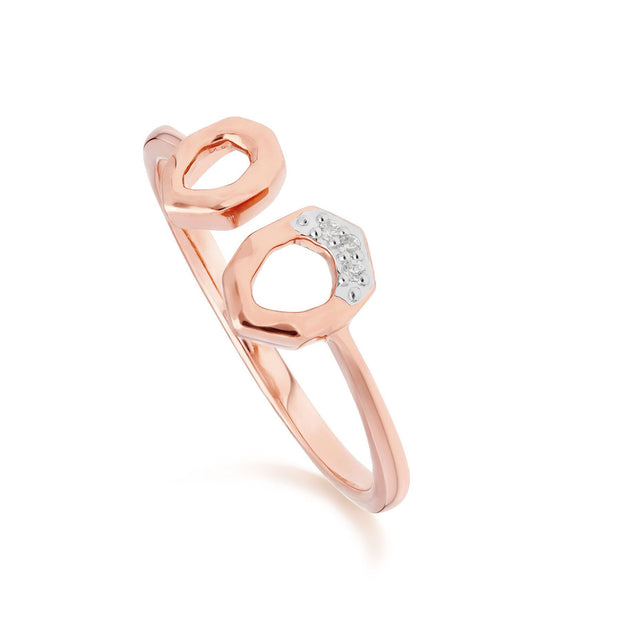 Diamond Pave Asymmetrical Stud Earring & Ring Set in 9ct Rose Gold