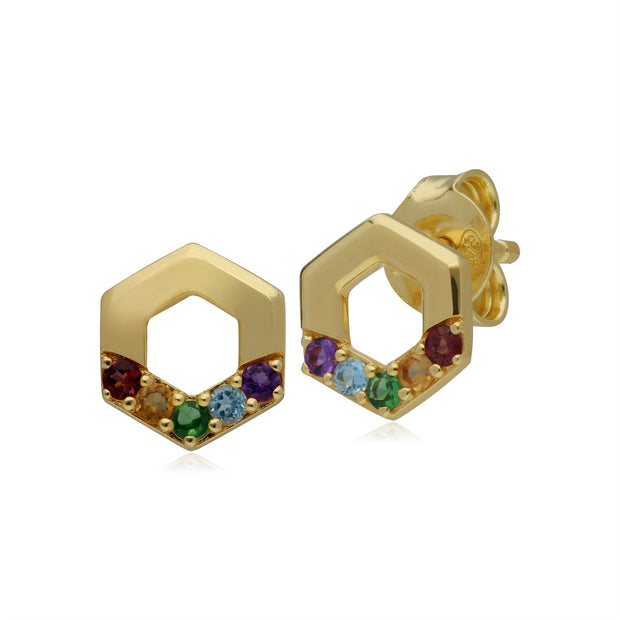Rainbow Hexagon Stud Earrings in Gold Plated Sterling Silver