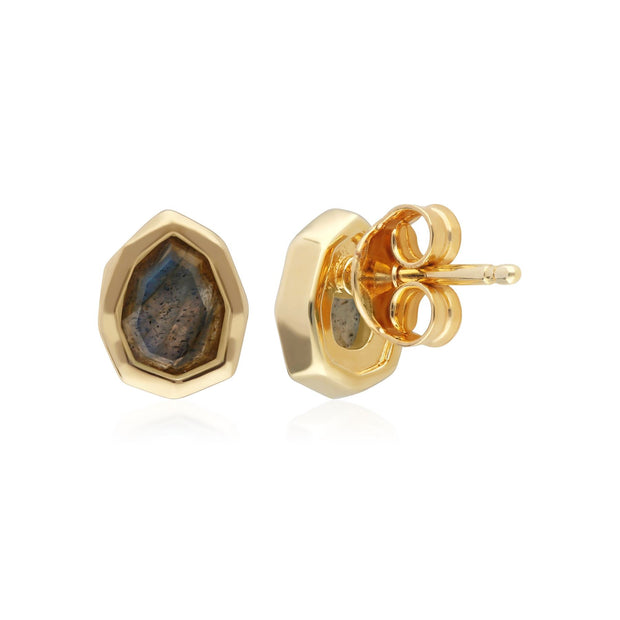 Irregular B Gem Labradorite Stud Earrings in Gold Plated Sterling Silver