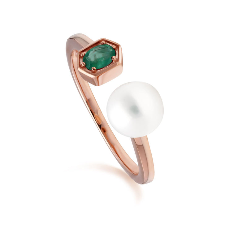 Modern Pearl & Emerald Open Ring in Rose Gold Plated Sterling Silver