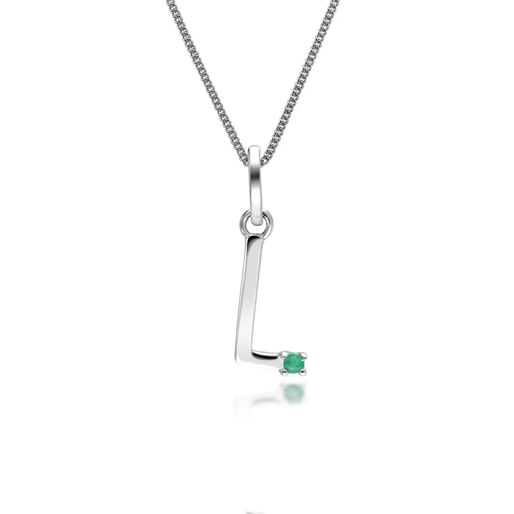 Initial L Emerald Letter Charm Necklace in 9ct White Gold