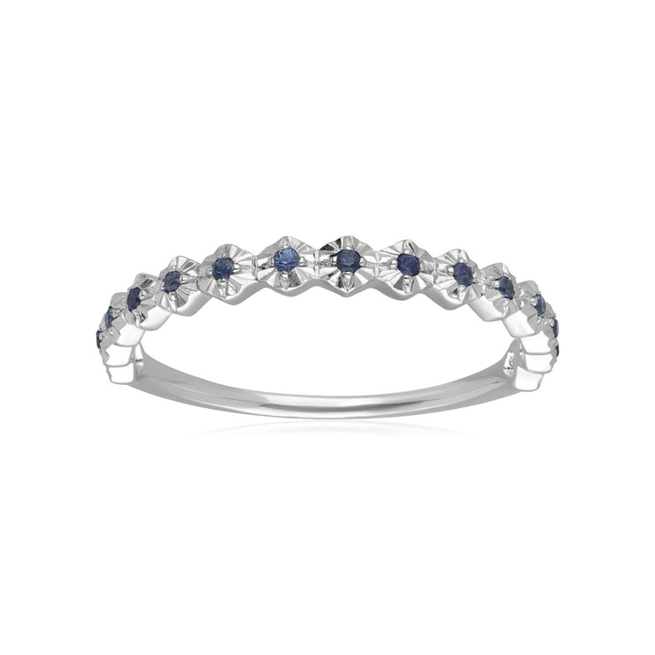 9ct White Gold 0.090ct Sapphire Band Ring