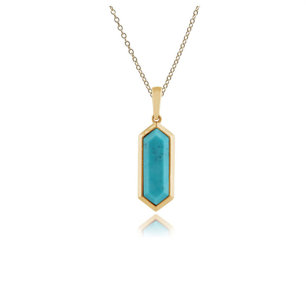 Geometric Hexagon Turquoise Prism Drop Earrings and Necklace in Gold Plated 925 Sterling Silver