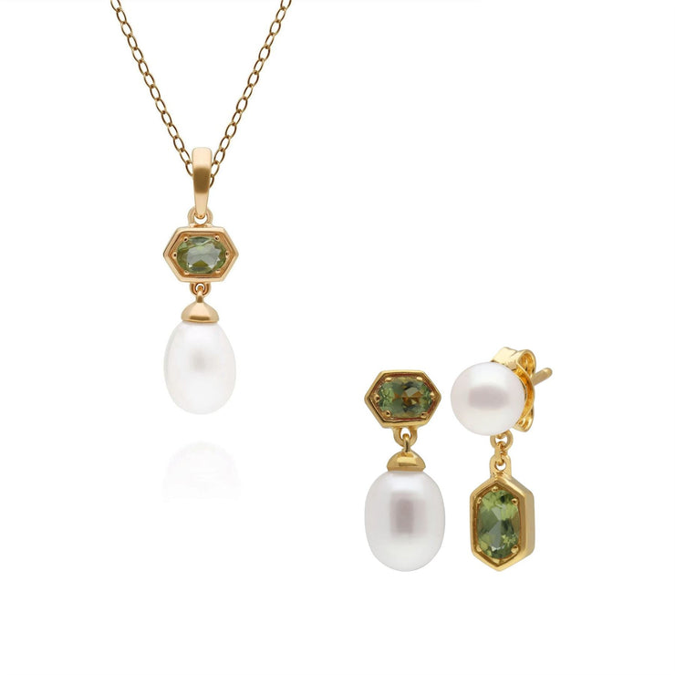 Modern Pearl & Peridot Pendant & Earring Set in Gold Plated Sterling Silver