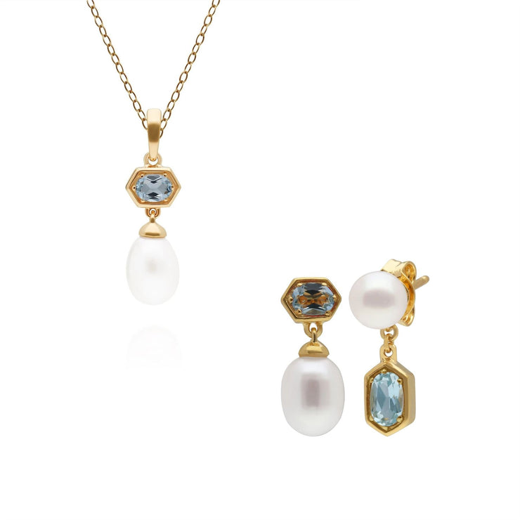 Modern Pearl & Blue Topaz Pendant & Earring Set in Gold Plated Sterling Silver