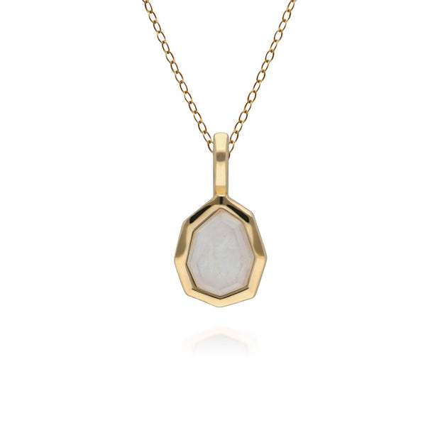 Irregular B Gem Rainbow Moonstone Pendant in Gold Plated Sterling Silver