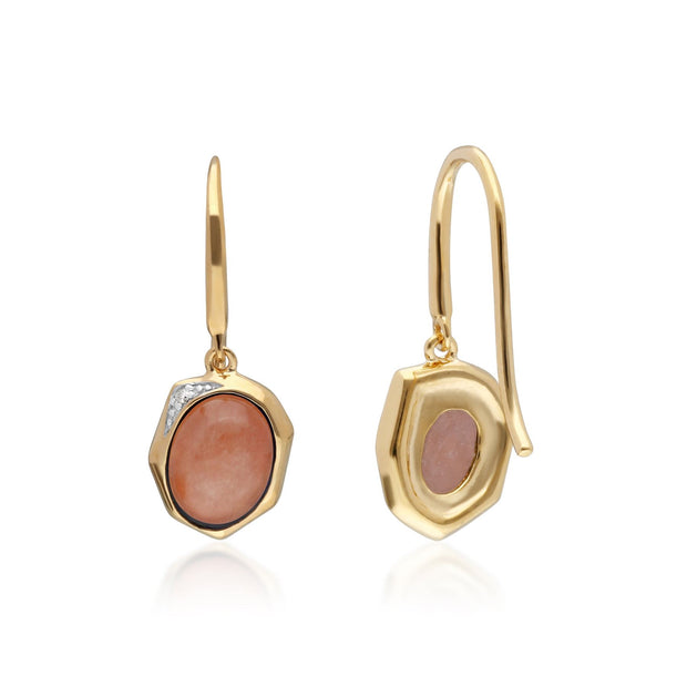 Irregular B Gem Dyed Red Jade & Diamond Drop Earrings in Gold Plated Sterling Silver