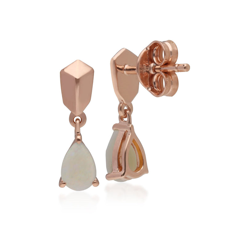 Micro Statement Opal Earrings in Rose Gold Plated 925 Sterling Silver