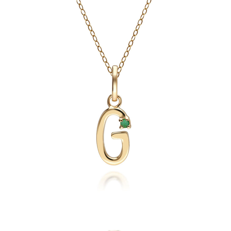 Initial G Emerald Letter Charm Necklace in 9ct Yellow Gold
