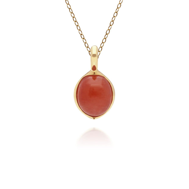 Irregular Collection Dyed Red Jade & Diamond Pendant in Gold Plated Sterling Silver