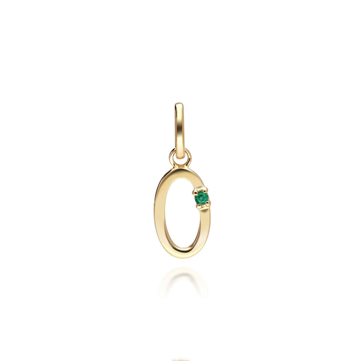 Initial O Emerald Letter Charm in 9ct Yellow Gold