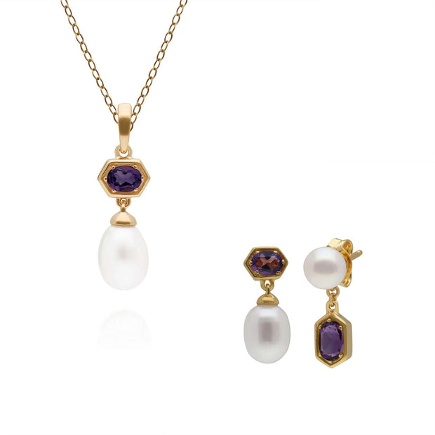 Modern Pearl & Amethyst Pendant & Earring Set in Gold Plated Sterling Silver