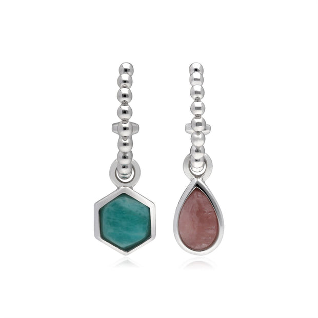 Micro Statement Rhodochrosite & Amazonite Mismatched Hoop Earrings in 925 Sterling Silver