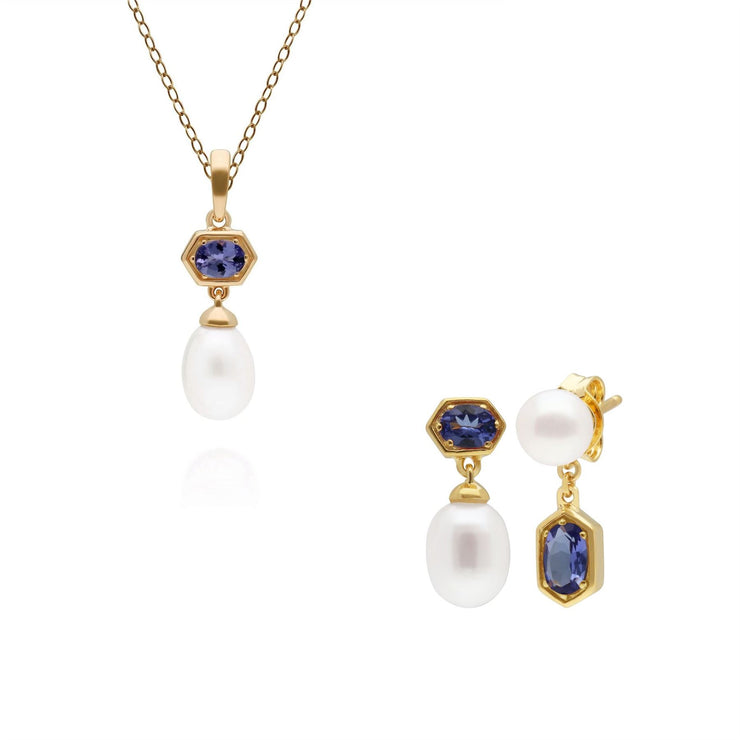 Modern Pearl & Tanzanite Pendant & Earring Set in Gold Plated Sterling Silver