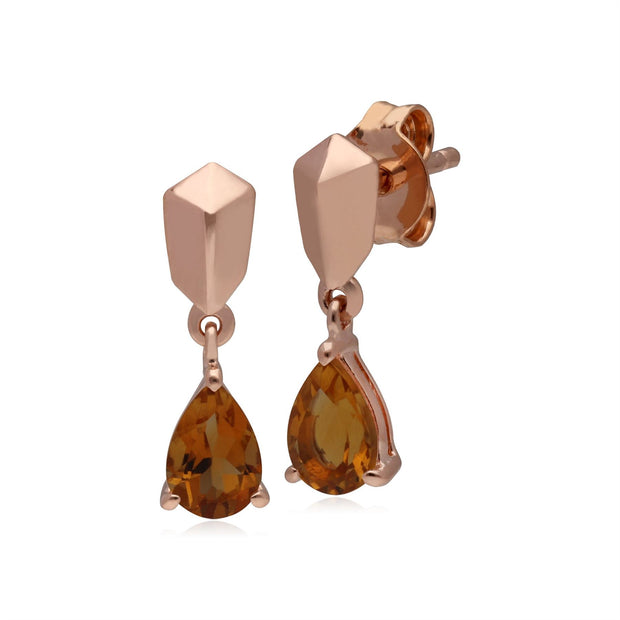 Micro Statement Citrine Earrings in Rose Gold Plated 925 Sterling Silver