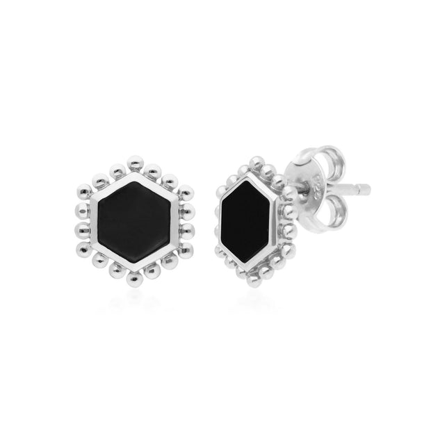 Black Onyx Flat Slice Hex Stud Earrings in Sterling Silver