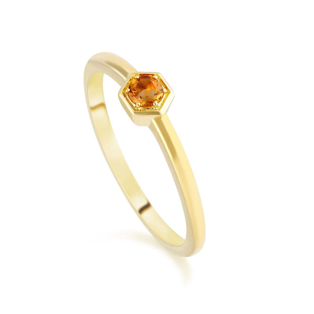 Honeycomb Inspired Citrine Solitaire Ring in 9ct Yellow Gold