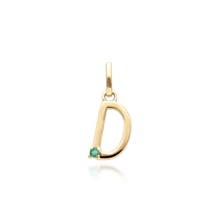 Initial D Emerald Letter Necklace in 9ct Yellow Gold