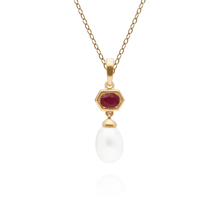 Modern Pearl & Ruby Hexagon Drop Pendant in Gold Plated Sterling Silver