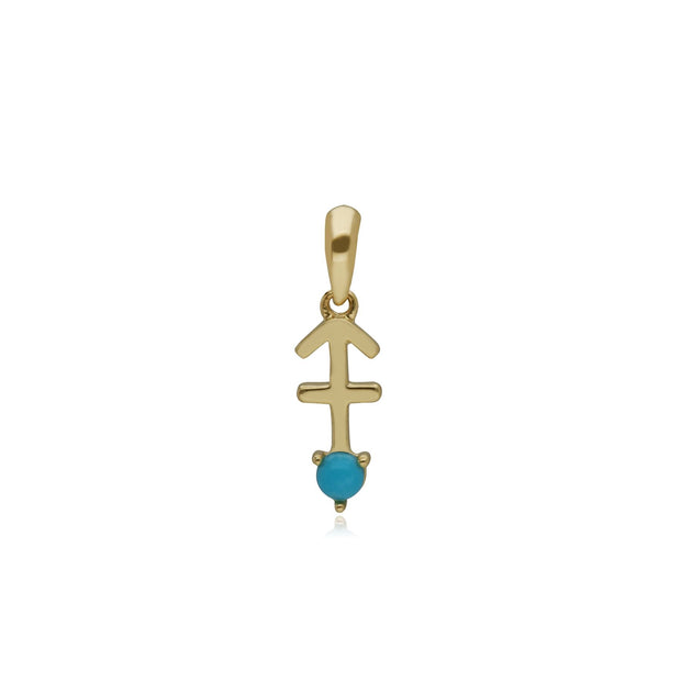Turquoise Sagittarius Zodiac Charm Necklace in 9ct Yellow Gold