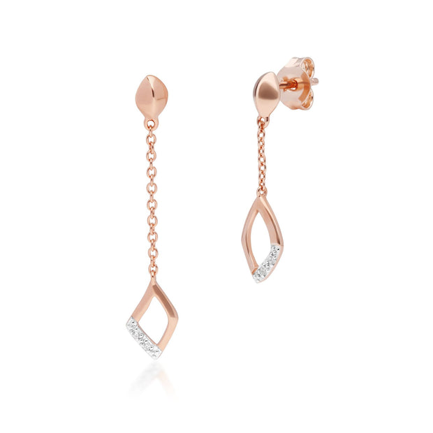Diamond Pave Mismatched Dangle Drop Earrings in 9ct Rose Gold