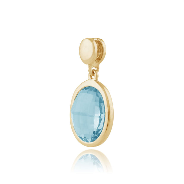 Gemondo 9ct Yellow Gold 1.93ct Oval Blue Topaz Pendant on Chain