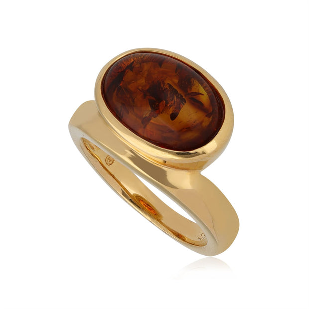 Kosmos Amber Cocktail Ring in Gold Plated Sterling Silver