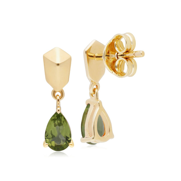 Micro Statement Peridot Earrings in Gold Plated 925 Sterling Silver