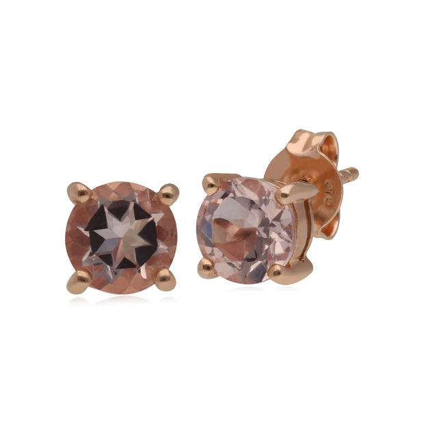 Kosmos Morganite Stud Earrings in Rose Gold Plated Sterling Silver