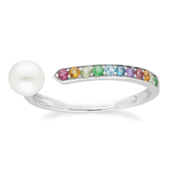 Rainbow Gemstone & Pearl Open Ring in 925 Sterling Silver