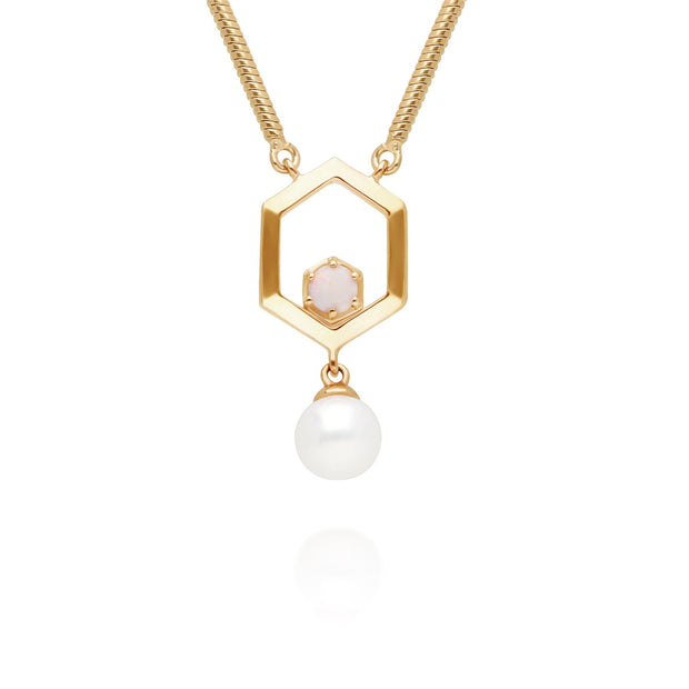 Modern Pearl & Opal Hexagon Drop Necklace in Gold Plated 925 Sterling Silver