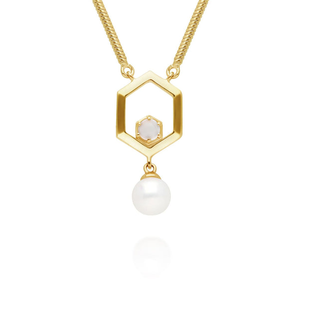 Modern Pearl & Moonstone Hexagon Drop Necklace in Gold Plated 925 Sterling Silver