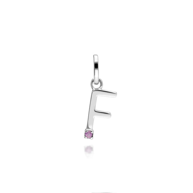 Initial F Pink Sapphire Letter Charm in 9ct White Gold