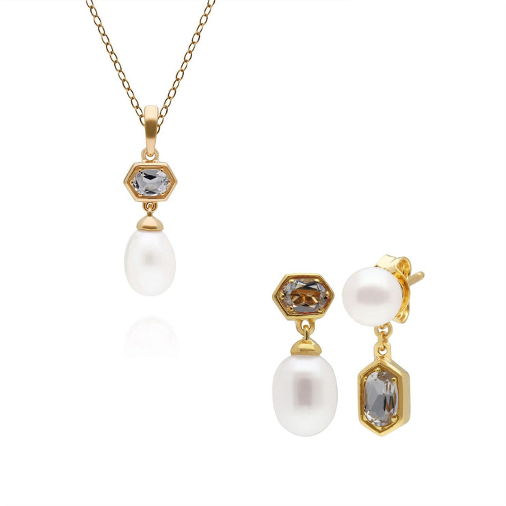 Modern Pearl & Topaz Pendant & Earring Set in Gold Plated Sterling Silver