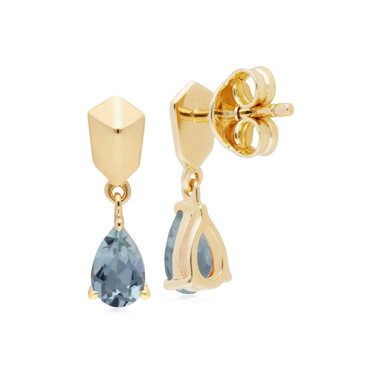 Micro Statement Aquamarine Earrings in Gold Plated 925 Sterling Silver