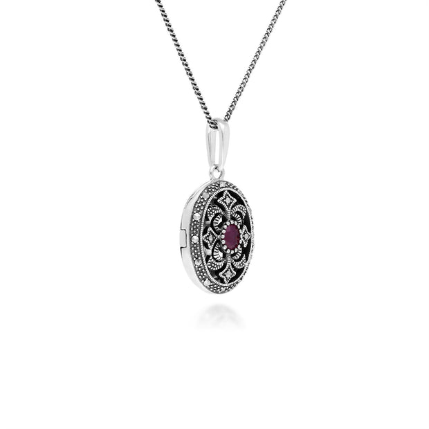Art Nouveau Style Oval Ruby & Marcasite Locket Necklace in 925 Sterling Silver