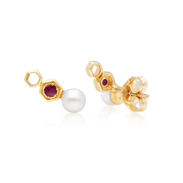 Modern Pearl & Ruby Ear Climber Studs in 9ct Yellow Gold