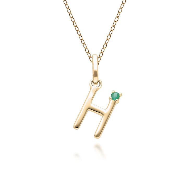 Initial H Emerald Letter Necklace in 9ct Yellow Gold