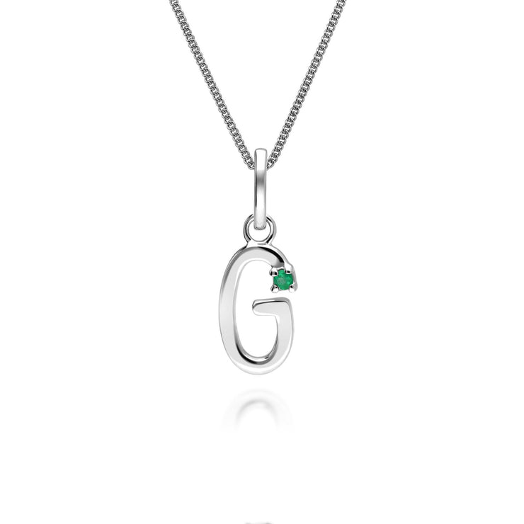 Initial G Emerald Letter Charm Necklace in 9ct White Gold