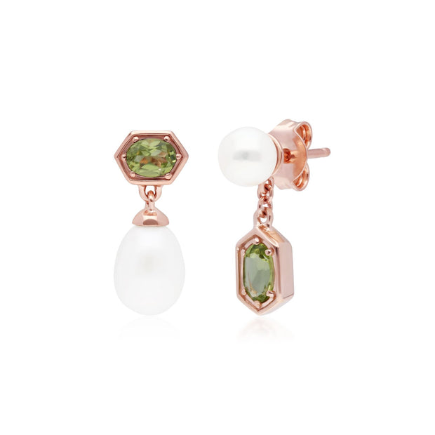Modern Pearl & Peridot Mismatched Drop Earrings in Rose Gold Plated Sterling Silver
