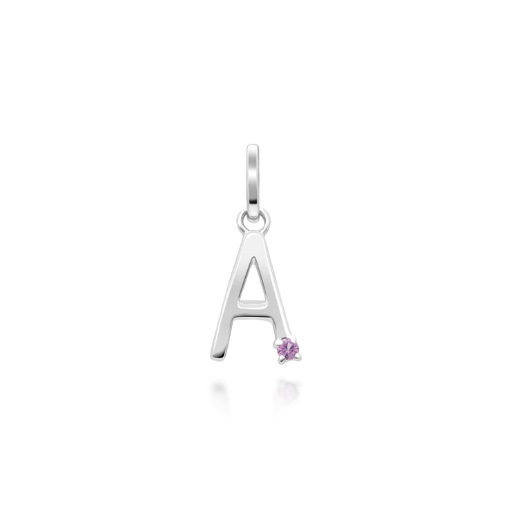 Initial A Pink Sapphire Letter Necklace in 9ct White Gold