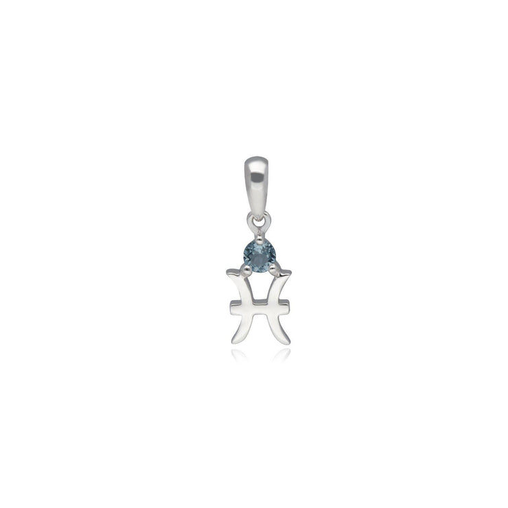 Aquamarine Pisces Zodiac Charm Necklace in 9ct White Gold