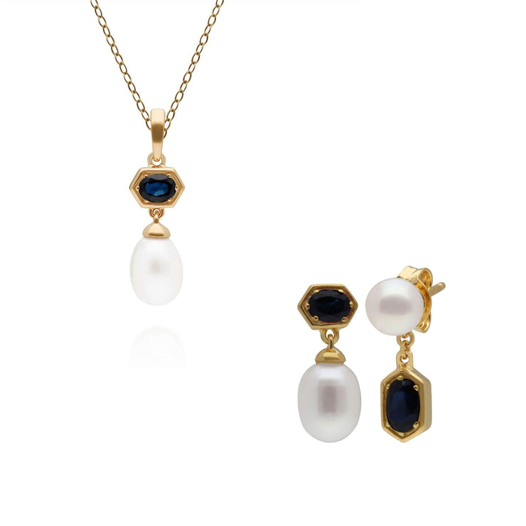 Modern Pearl & Sapphire Pendant & Earring Set in Gold Plated Sterling Silver