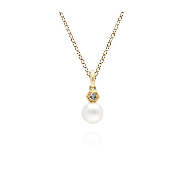 Modern Pearl & White Topaz Pendant in 9ct Yellow Gold