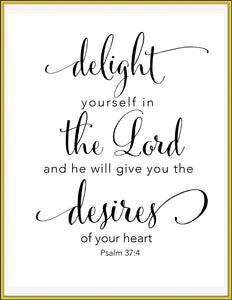 Delight yourself in the Lord, 8x10 Printable - TiraYoungShop
