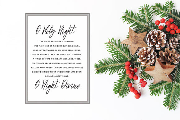 O Holy Night, Christmas Hymn Printable,  Christmas printable decor, Red and Green Typography - TiraYoungShop