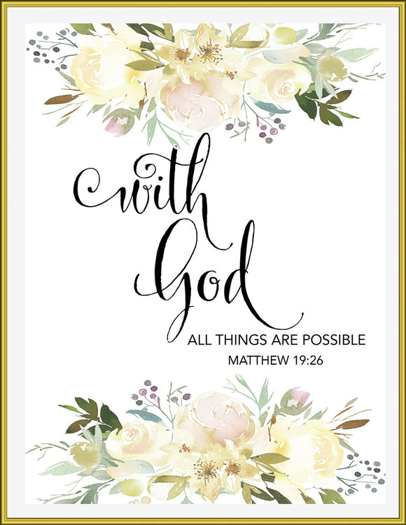 With God, All things are possible, 8x10 Printable - TiraYoungShop