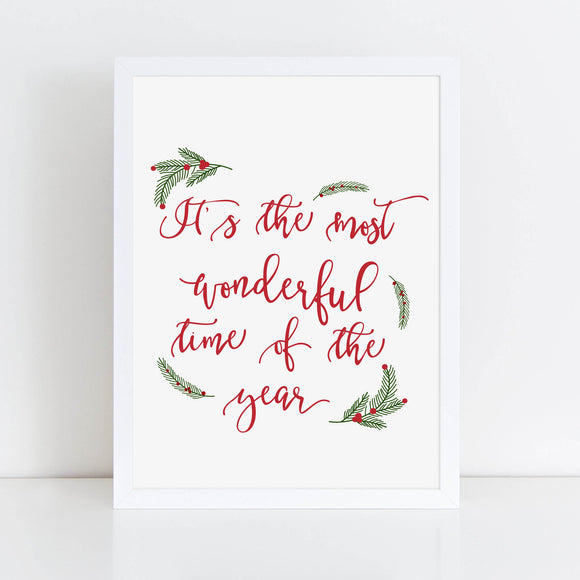 It's the Most Wonderful Time of the Year, Seasonal Print, Christmas Song Printable, Red and Green Decor - TiraYoungShop